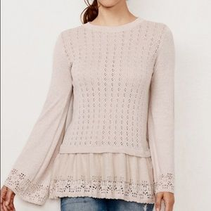 w/TAG LC Pointelle BABYDOLL Layered SWEATER TOP